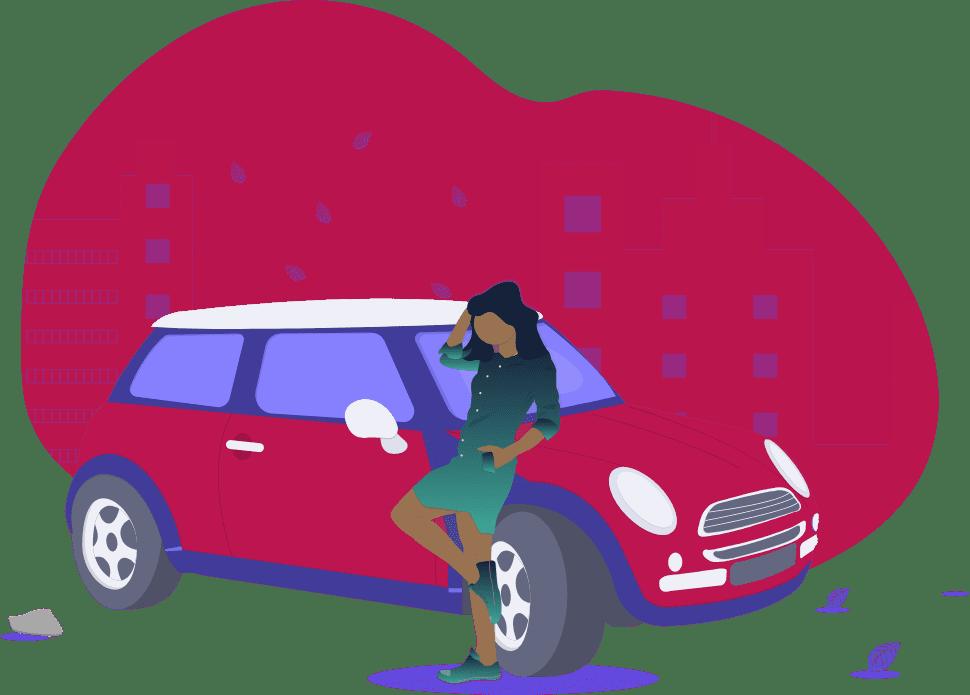 Covoitureur adossé sur une voiture