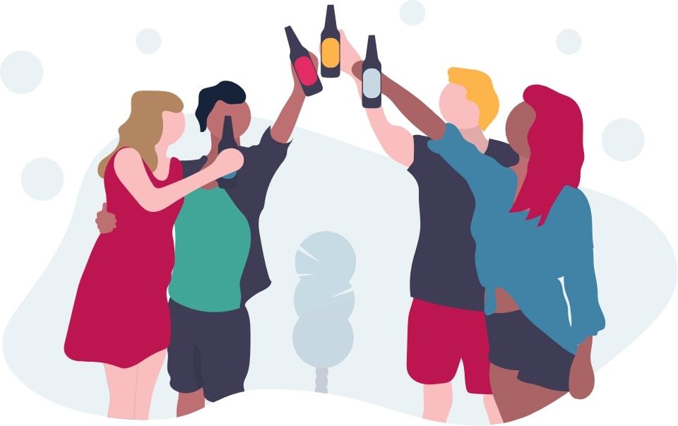 groupe de covoitureurs wé-co portant un toast